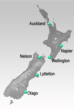 Map of NZ showing the locations where Scandinavian settlers arrived in New Zealand.